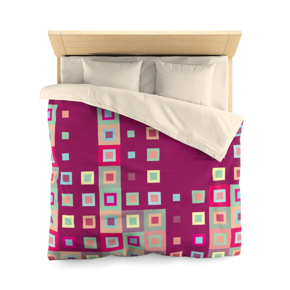 Boogie Woogie Sand and Cranberry Square-patterned Microfiber Duvet Cover