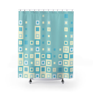 Boogie Woogie Sage and Yellow, Square-patterned Shower Curtain