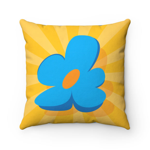 Jammie Cats Yellow Sunburst with Blue Flower/Skunk Spun Polyester Square Pillow and Cover