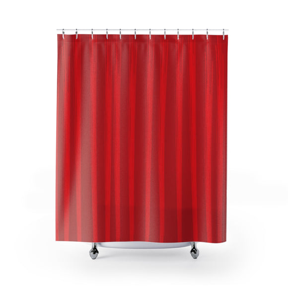 Red Shower Curtain - Lines #3