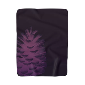 "50"" x  60"" Plum Pinecone Sherpa Fleece Blanket"