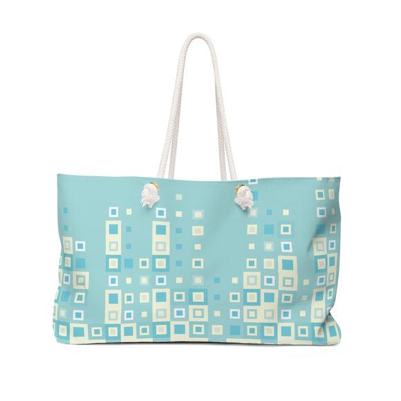 Boogie Woogie Sage and Yellow Square-patterned Weekender Bag