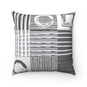 Gray Grid #2 Spun Polyester Square Double-sided Pillow and Case