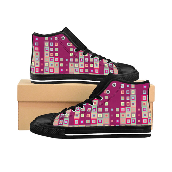 Boogie Woogie Sand and Cranberry Square-patterned, Black-soled Women's High-top Sneakers