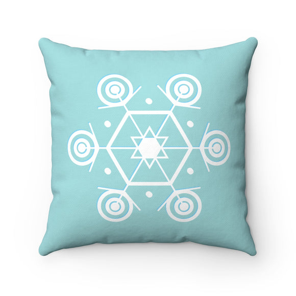 Snowflake on Sage Spun Polyester Square Double-sided Pillow and Case