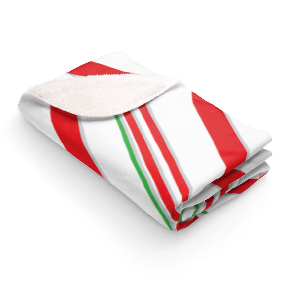 Candy Cane Sherpa Fleece Blanket