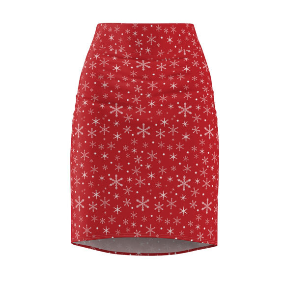 Women's Snowflakes on Red Pencil Skirt