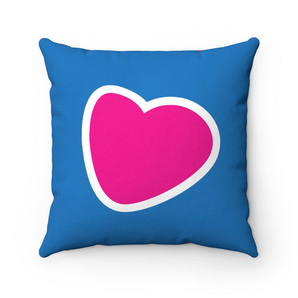 Jammie Cats Pink Heart on Blue /Skunk on Red Spun Polyester Square Pillow and Case