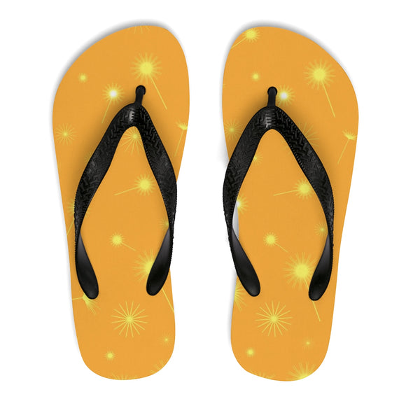 Women's, Men's, and Teen's Yellow Dandelion Flip-Flops