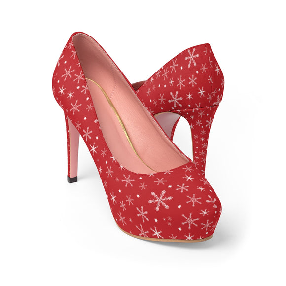 Women's Snowflakes on Red Platform Heels
