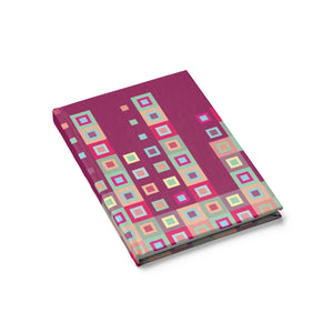 Boogie Woogie Sand and Cranberry Square-patterned Journal - Blank