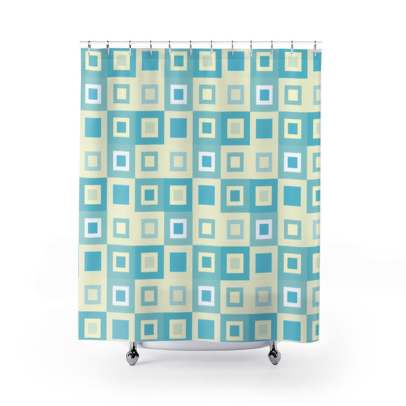 Itten-Grid Sage and Yellow, Square-patterned Shower Curtains