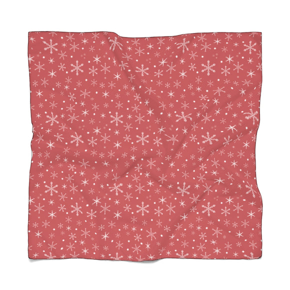 Snowflakes on Red Scarf