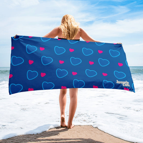 Jammie Cats Hearts on Blue Beach or Bath Towel