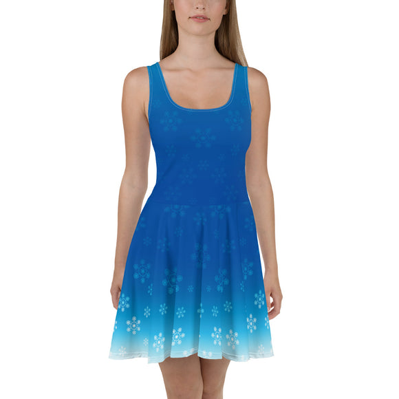 Blue Snowflake Skater Dress