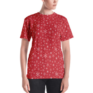 Women's Snowflakes on Red T-shirt