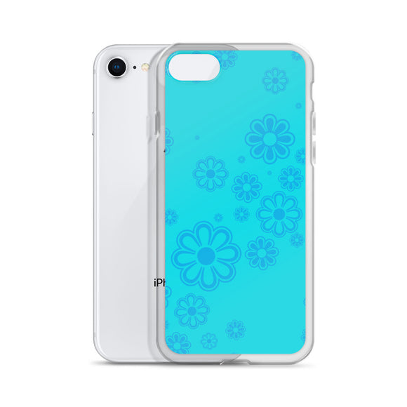 Aqua and Blue Flower-print iPhone Case