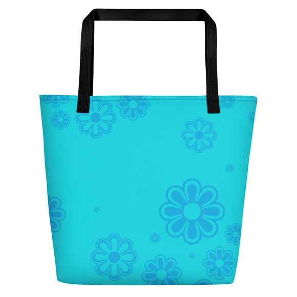 Aqua and Blue Flower-print Beach Bag