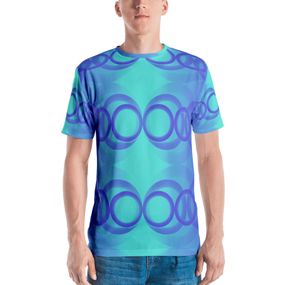 Men's Aqua and Purple Circle-pattern T-shirt