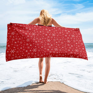 Snowflakes on Red Beach or Bath Towel