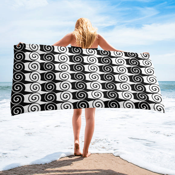 Ionic-patterned #2 Black and White Beach or Bath Towel