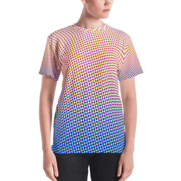 Women's Halftone #1 T-shirt - Red White Blue