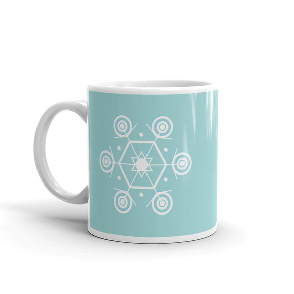 Large Snowflake on Sage Mug