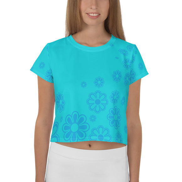 Teen's Aqua and Blue Flower-print Cropped T-shirt