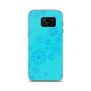 Aqua and Blue Flower-print Samsung Case