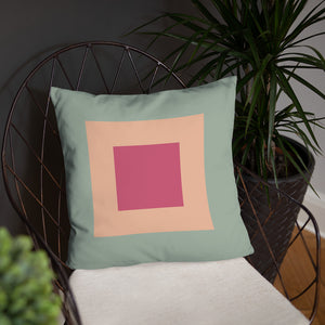"Itten-Grid Sand and Cranberry Square-patterned 18"" x 18"" Pillow #2"