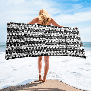 Ionic-patterned Black and White Beach or Bath Towel