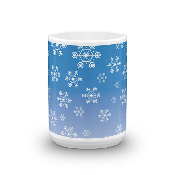 Snowflakes on Blue Mug