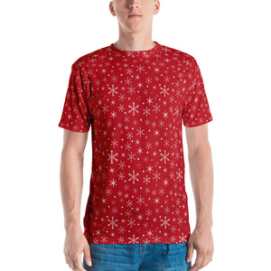 Snowflakes on Red Men's T-shirt