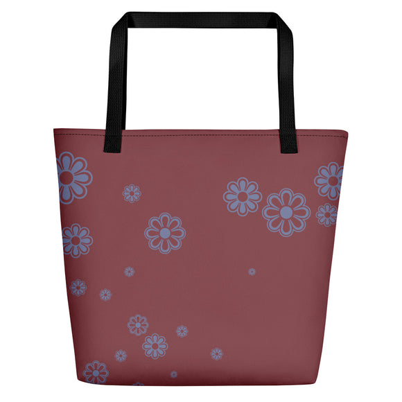 Pecan and Mauve Flower-print Beach Bag