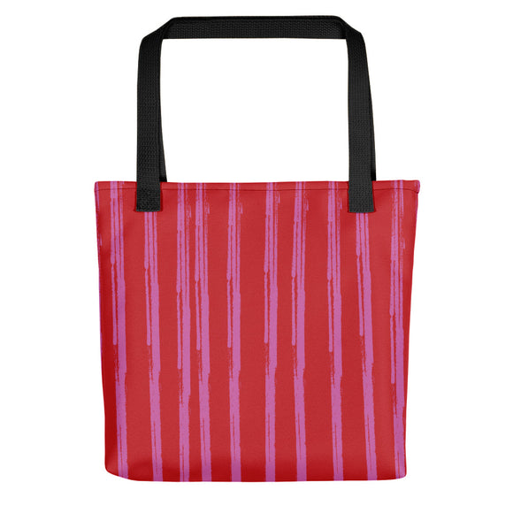 Red Tote Bag - Lines #4