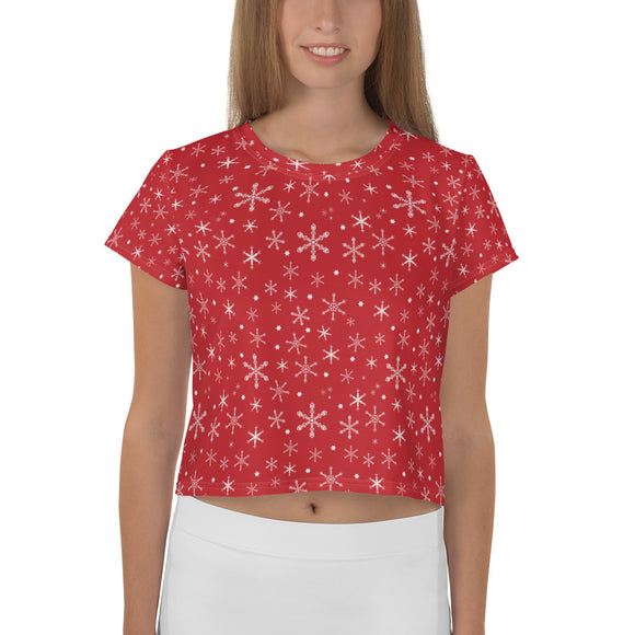 Teen's Snowflakes on Red Crop T-shirt