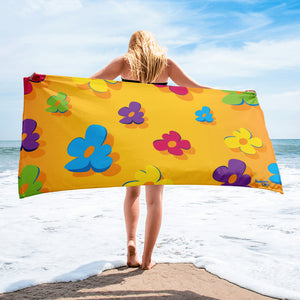 Jammie Cats Skunk Flowers on Yellow Beach or Bath Towel