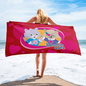 Jammie Cats with Hearts  Beach or Bath Towel