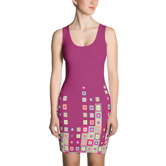 Boogie Woogie Sand and Cranberry Square-patterned Dress