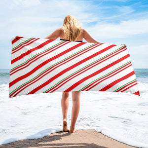 White Candy Cane Beach or Bath Towel