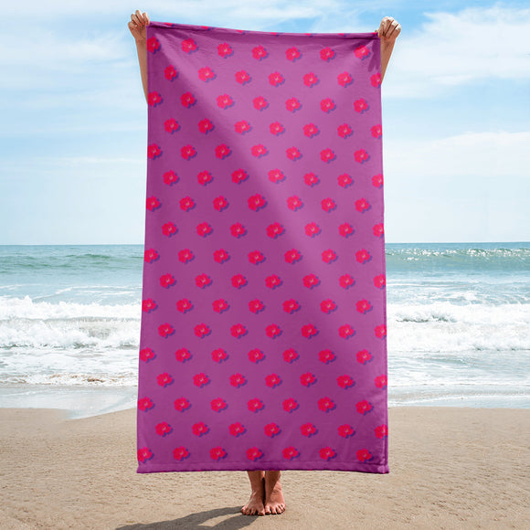 Rose on Rose Beach or Bath Towel