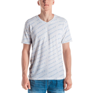 Men's Light Blue on White Gravity Waves T-shirt