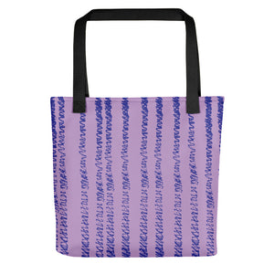 Mauve Tote Bag with Blue Lines
