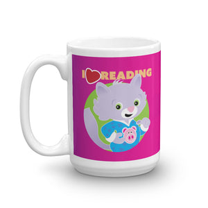 "Pink Snoozy ""I Heart Reading"" Mug - Jammie Cats™ Kids"