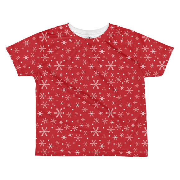 Toddler Snowflakes on Red T-shirt
