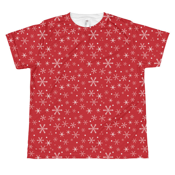Youth Snowflakes on Red T-shirt