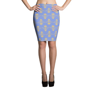 Women's Mauve and Gold Victorian Wallpaper-Style Pencil Skirt