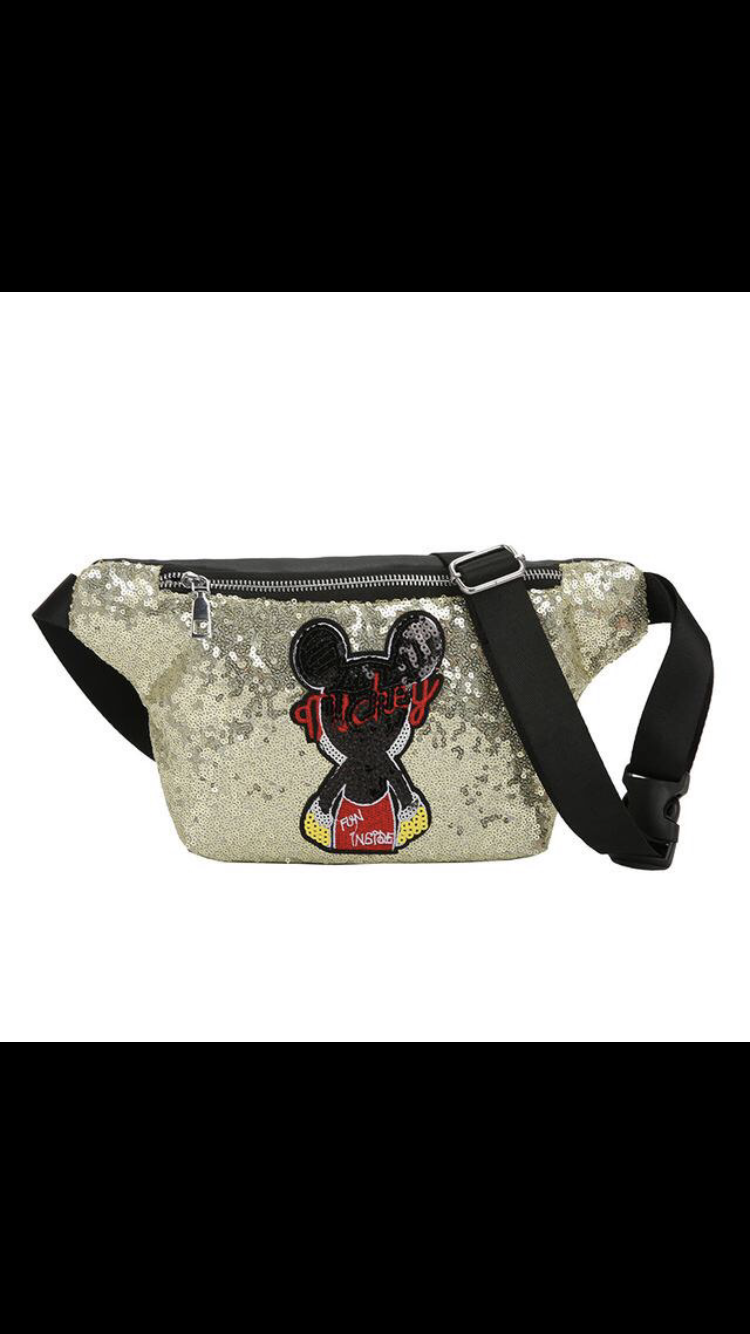 SALE💝SHOP NOW 3 INSTOCK💝Quick Ship Item*Silver Colors *Mouse Mickey *Sequined Fanny Pack *Free Shipping