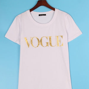 Plus Size XS-4XL Fashion Summer T Shirt Women VOGUE Printed T-shirt Women Tops Tee Shirt Femme New Arrivals Hot Sale