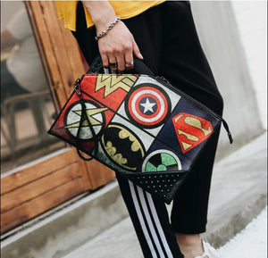 2019 Men's rivets handbag  Cartoon prints clutch Bag street fashion leisure bag Free Shipping